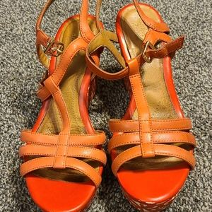 • Clarks Amelia Avery Orange & Cream Wedge Shoes •
